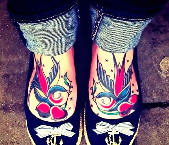 Swallows on Feet for Woman Tattoo Idea
