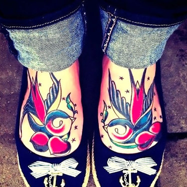 Swallows on Feet for Woman Tattoo