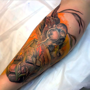 Sparrow and Grenade Tattoo