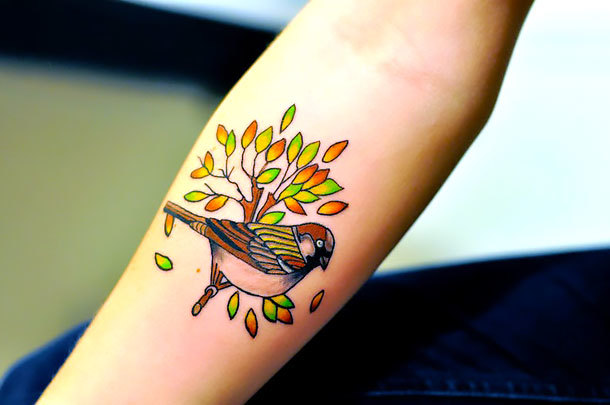 Sparrow on Branch Tattoo Idea