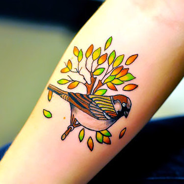Sparrow on Branch Tattoo