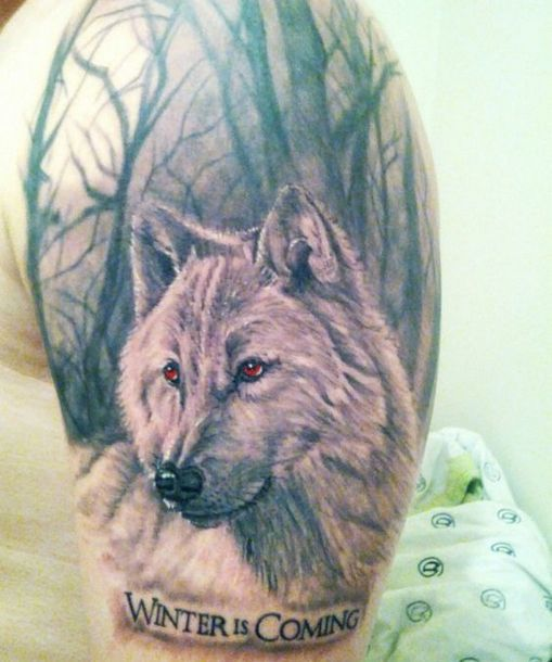 Winter is Coming Wolf Tattoo Idea