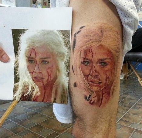 Daenerys Targaryen Face in Blood Tattoo Idea