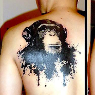 Amazing Monkey Head Tattoo