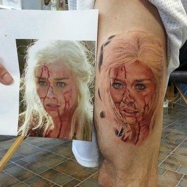 Daenerys Targaryen Face in Blood Tattoo