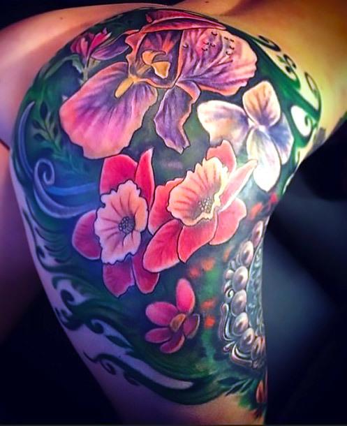 Beautiful Flowers on Butt Tattoo Idea