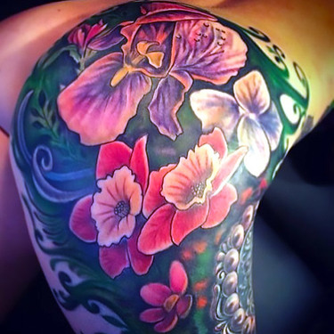 Beautiful Flowers on Butt Tattoo