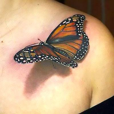 Amazing Realistic 3d Butterfly Tattoo Idea