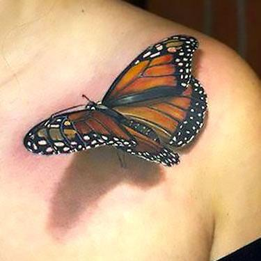 Amazing Realistic 3d Butterfly Tattoo