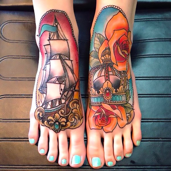 Ship and Crown on Feet for Girl Tattoo Idea