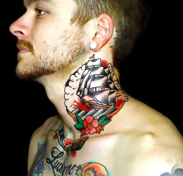 Side of Neck Ship Tattoo Idea