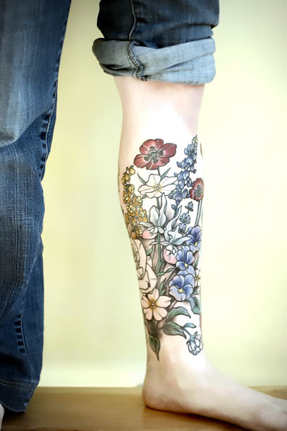 Botanical Shin Sleeve Tattoo Idea