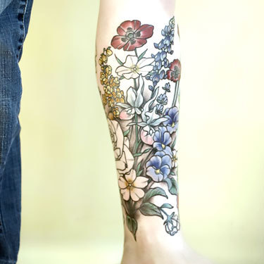 Botanical Shin Sleeve Tattoo