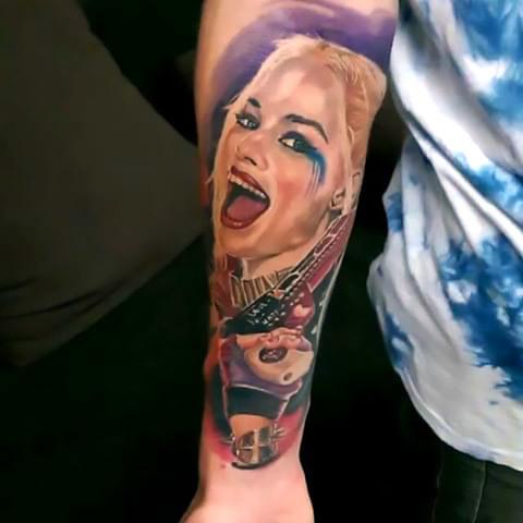 Laughing Harley Quinn Tattoo Idea