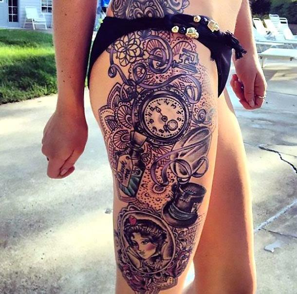 Side Leg Tattoo Idea