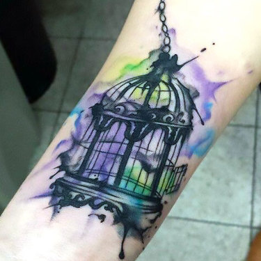 Simple Watercolor Birdcage Tattoo