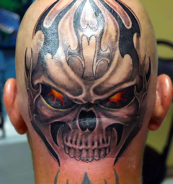 Skull on Head Tattoo Idea