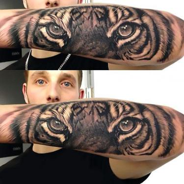 Amazing Realistic Tiger Sleeve Tattoo
