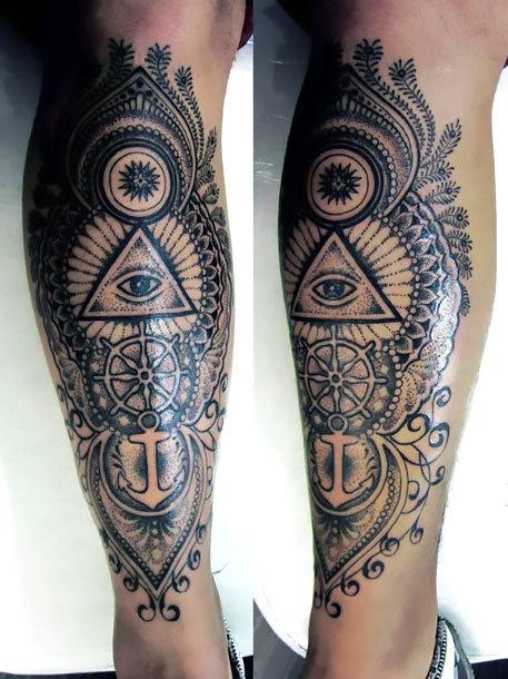 Signs on Shin for Men Tattoo Idea