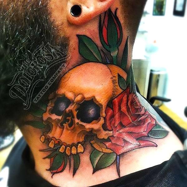 Skull Neck Men Tattoo Idea