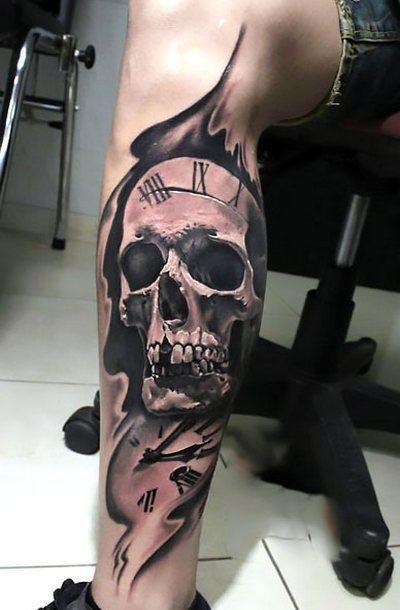 Skull on Leg for Men Tattoo Idea