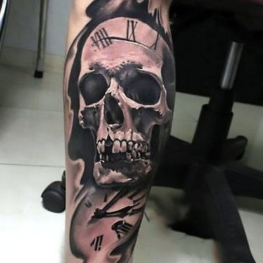 Skull on Leg for Men Tattoo