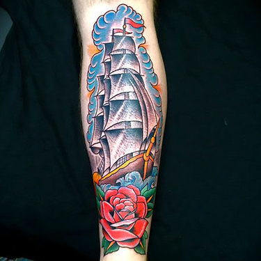 Ship on Shin Tattoo