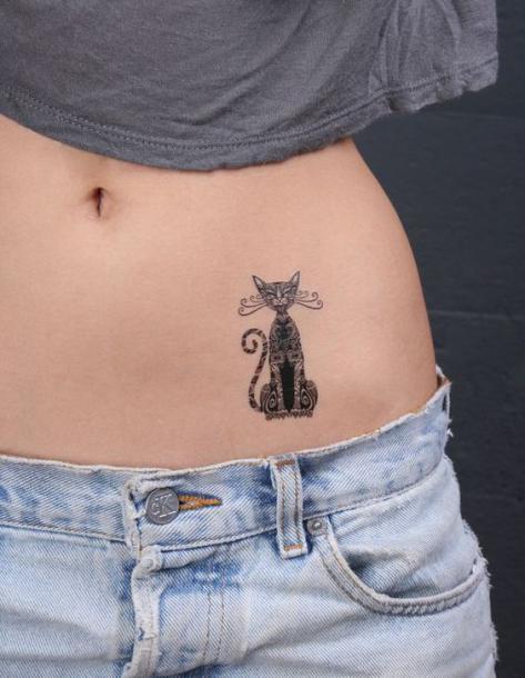 Cat Tattoo On Belly Tattoo Idea
