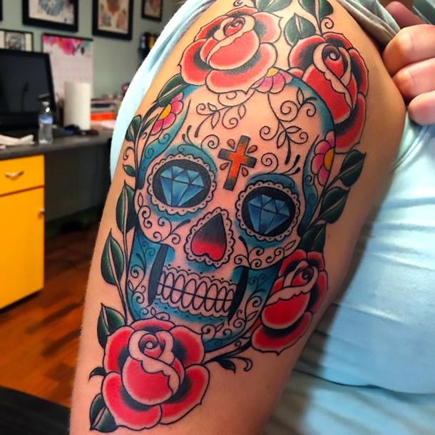 Awesome Sugar Skull Tattoo Idea