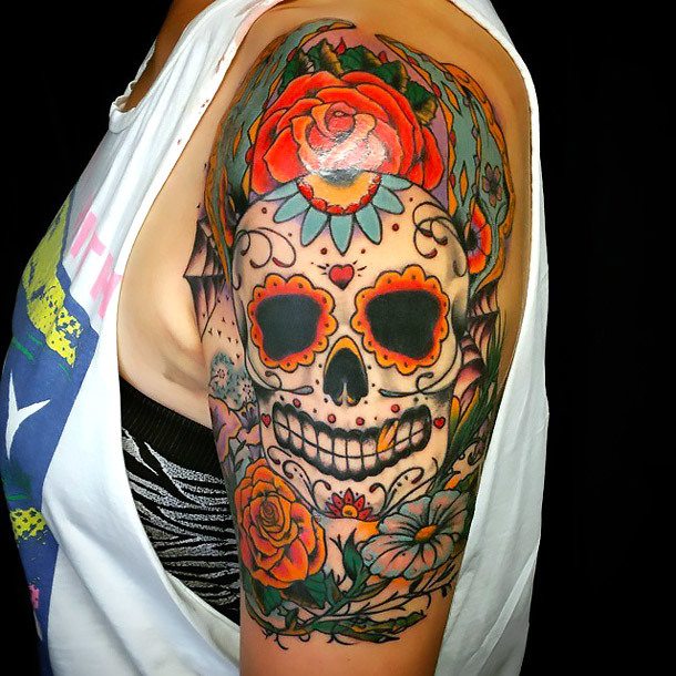 Sugar Skull Tattoo on Shoulder Tattoo Idea