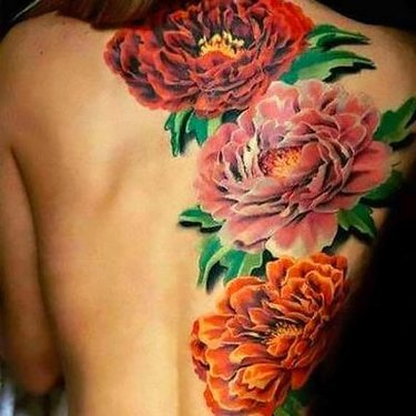 Floral Back Peonies Tattoo