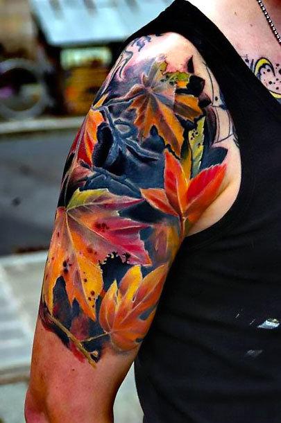 Floral Half Sleeve Tattoo Idea