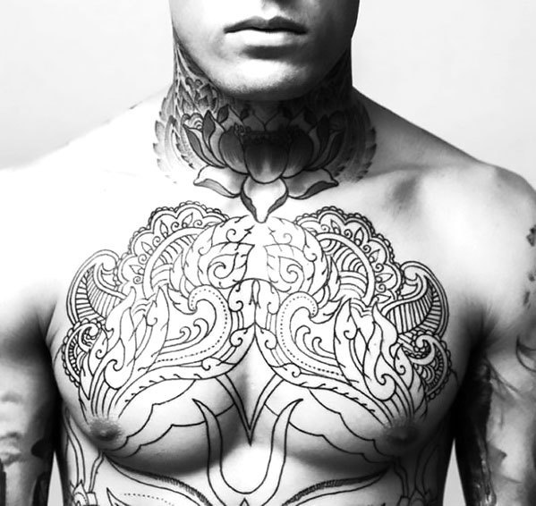 Floral Mens Chest Tattoo Idea