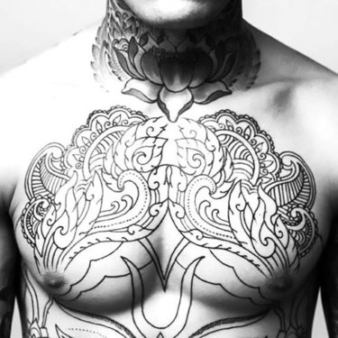 Floral Mens Chest Tattoo