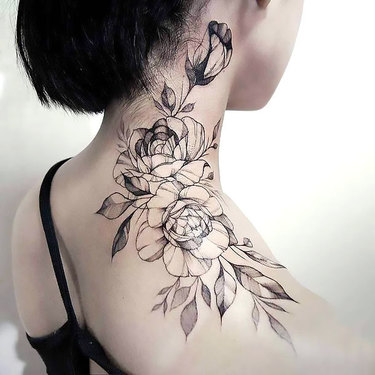 Floral Neck for Women Tattoo