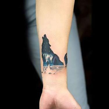 Amazing Small Wolf on Wrist Tattoo