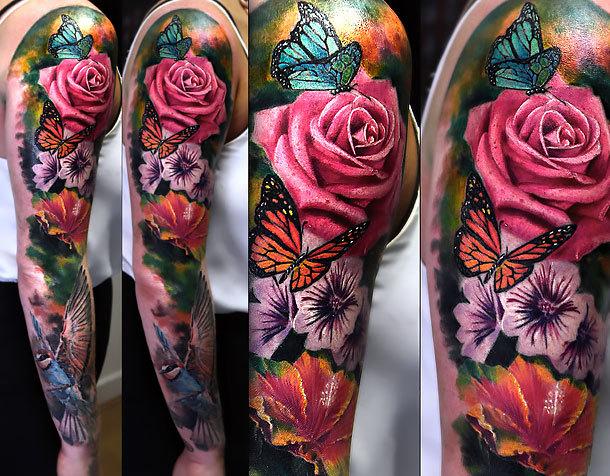 Floral Sleeve Tattoo Idea