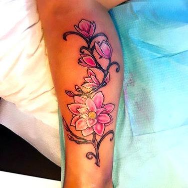 Flower on Calf for Women Tattoo