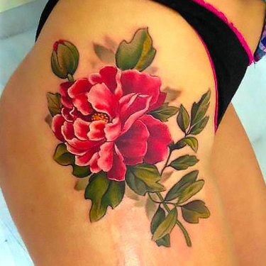 Peony Flower on Hip for Women Tattoo