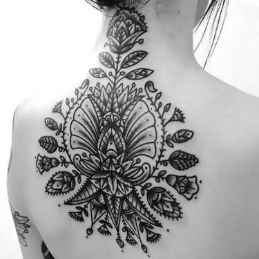 Flowers on Back for Ladies Tattoo