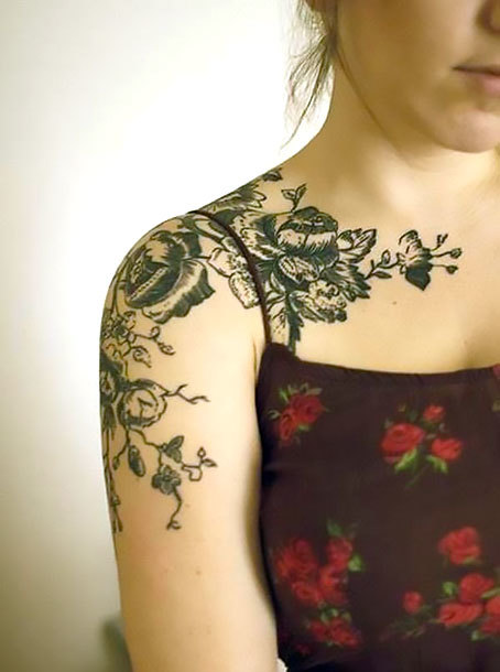 Flowers on Shoulder for Girls Tattoo Idea