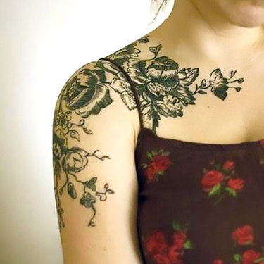Flowers on Shoulder for Girls Tattoo