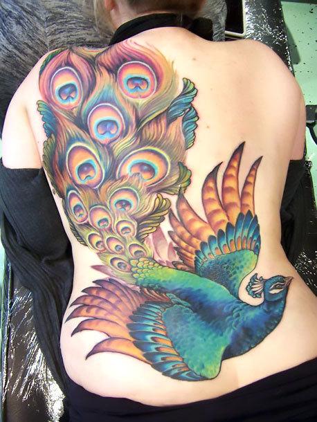 Flying Peacock Tattoo Idea