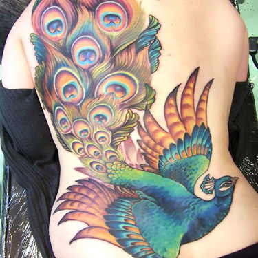 Flying Peacock Tattoo