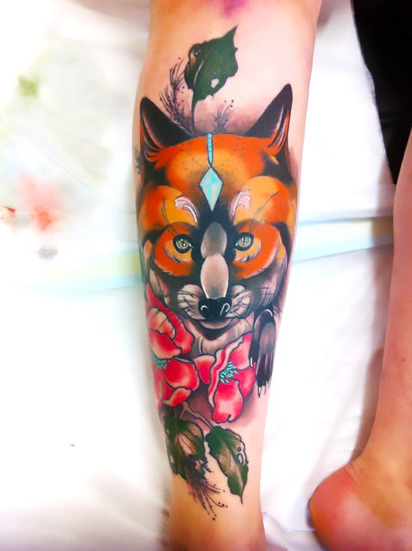 Fox Shin Piece Tattoo Idea