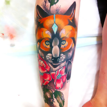 Fox Shin Piece Tattoo