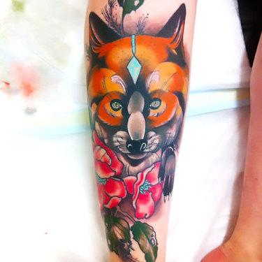 Fox Shin Piece Tattoo