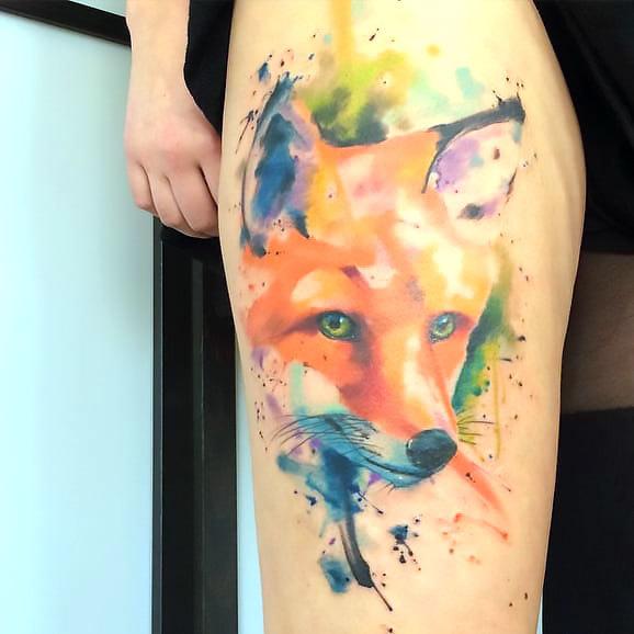 Fox Tattoo In Watercolor Style Tattoo Idea
