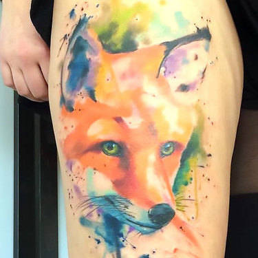 Fox Tattoo In Watercolor Style Tattoo