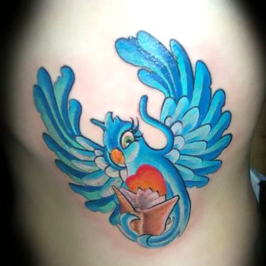 Funny Cartoon Bluebird Tattoo